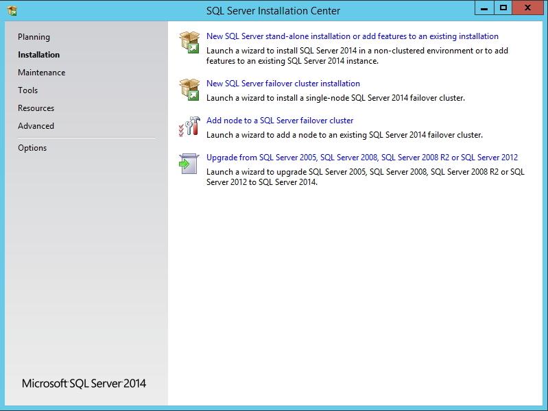 SQL Server 2014 - Tela inicial