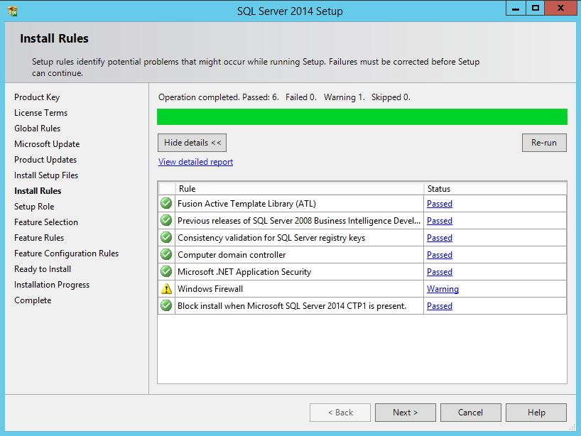 SQL Server - Tela de validação dos requisitos