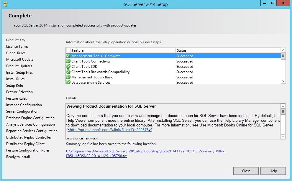SQL Server - Final da Instalação