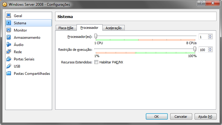 VirtualBox - Configurações de Processador