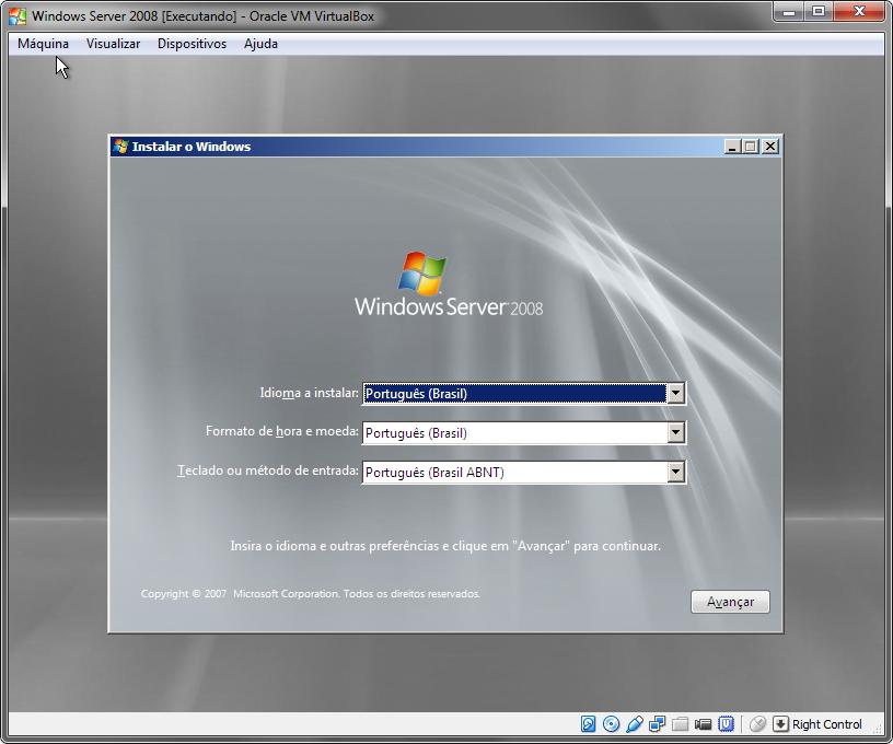 VirtualBox - Instalação do Windows