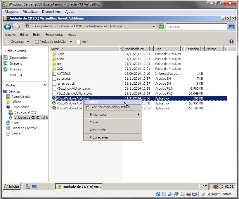 VirtualBox - Instalação da imagem para convidados