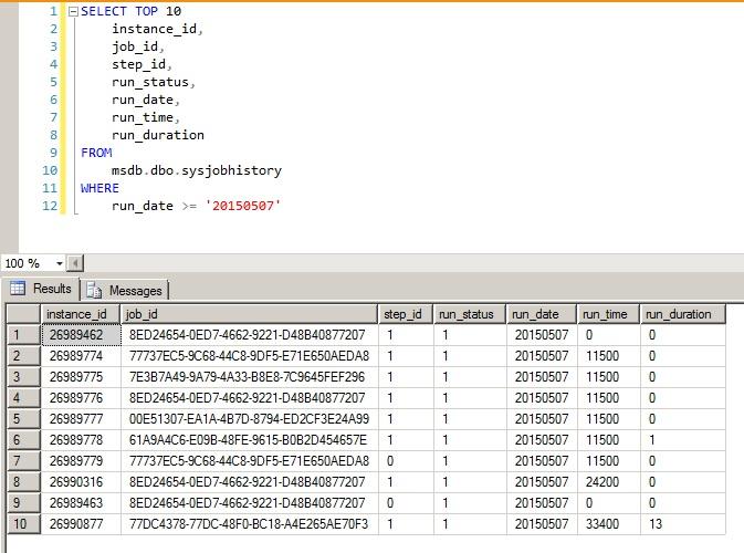 SQL Server - Job History para Datetime - 1