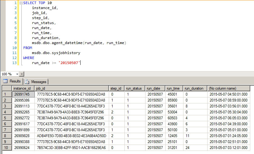 SQL Server - Job History para Datetime - 2