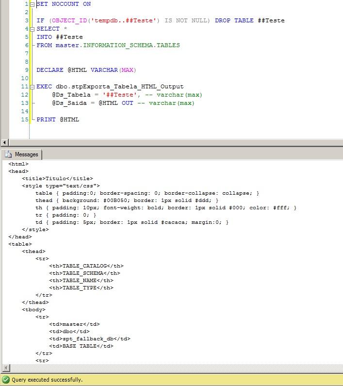 SQL Server x HTML2
