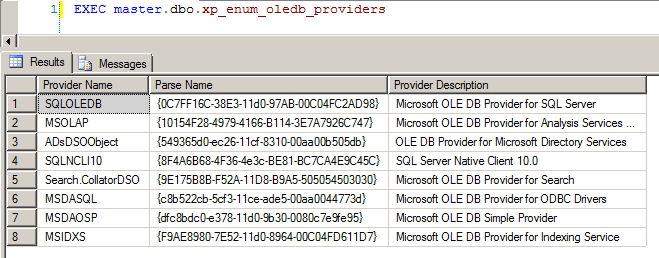 Procedures XP - xp_enum_oledb_providers