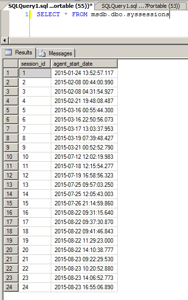 SQL Agent History - syssessions