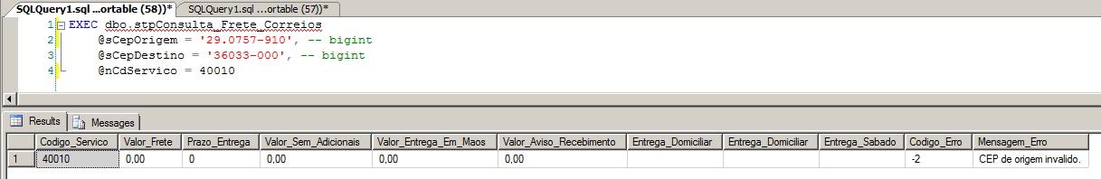 WebService Correios - CEP inválido