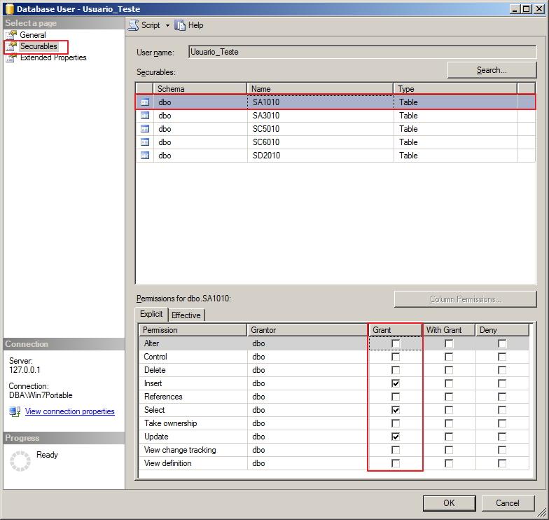 SQL Server - Permissões dos usuários - Interface GUI 2