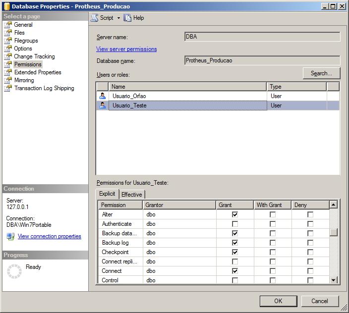 SQL Server - Permissões dos usuários - Interface GUI 4