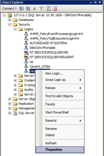 SQL Server - Permissões dos usuários - Interface GUI 5