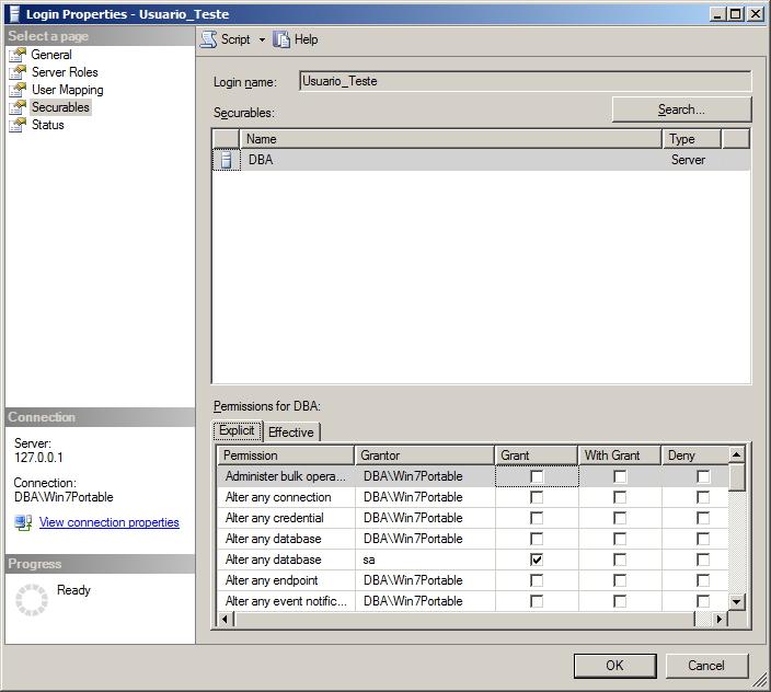 SQL Server - Permissões dos usuários - Interface GUI - Securables Explicit