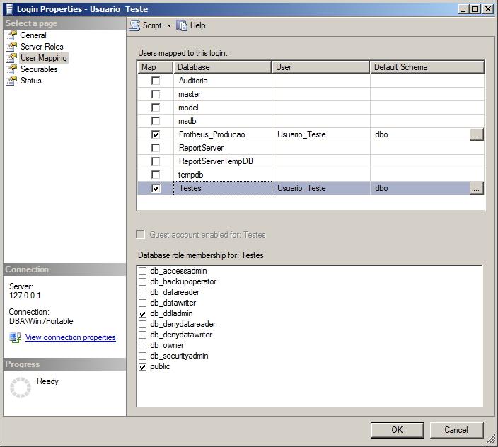 SQL Server - Permissões dos usuários - Interface GUI - User Mapping