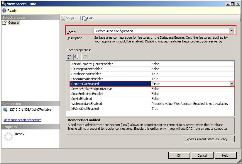 SQL Server - Ativar DAC 2