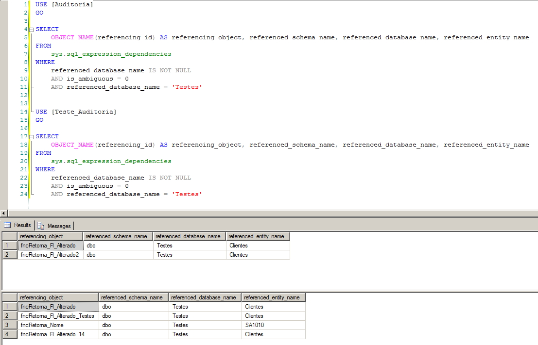 SQL Server - Cross database dependency