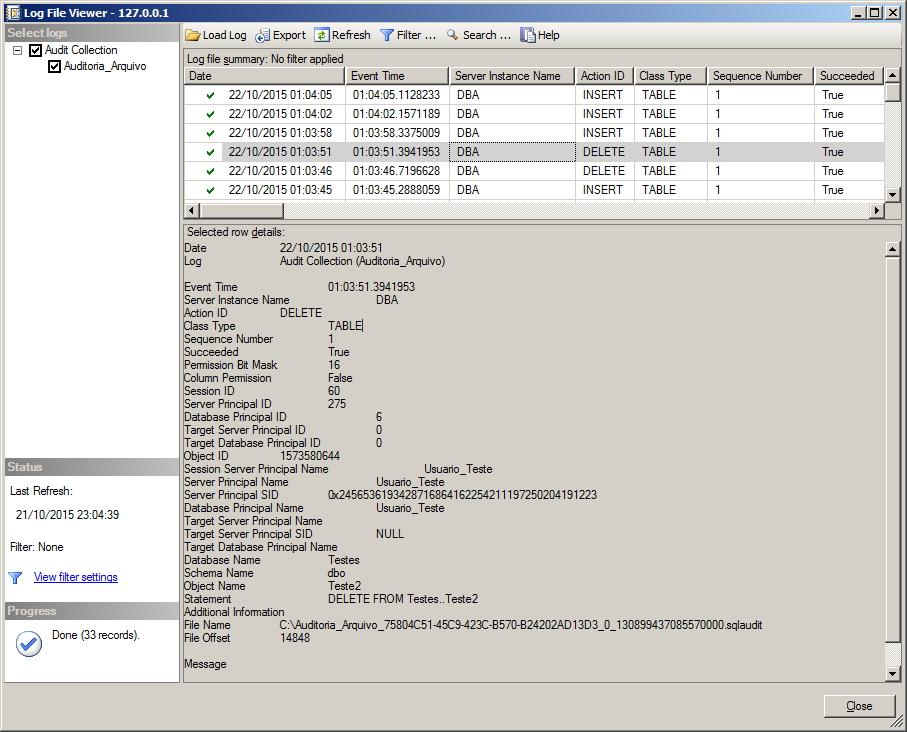 SQL Server - Database Audit Specification View Log