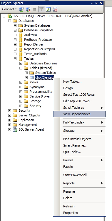 SQL Server - Dependencias Management Studio