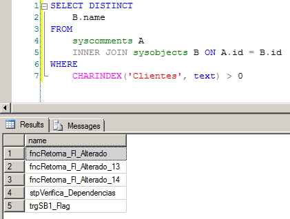 SQL Server - Dependency syscomments