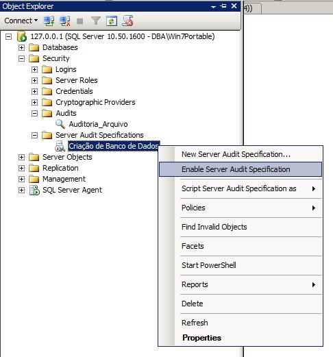 SQL Server - Server Audit Specification Enable