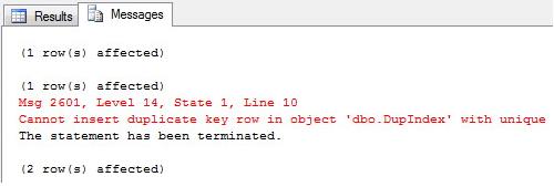 SQL Server - Unique Index Constraint Error