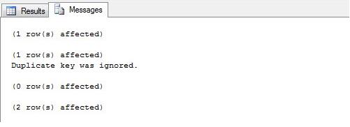 SQL Server - Unique Index Ignore_Dup