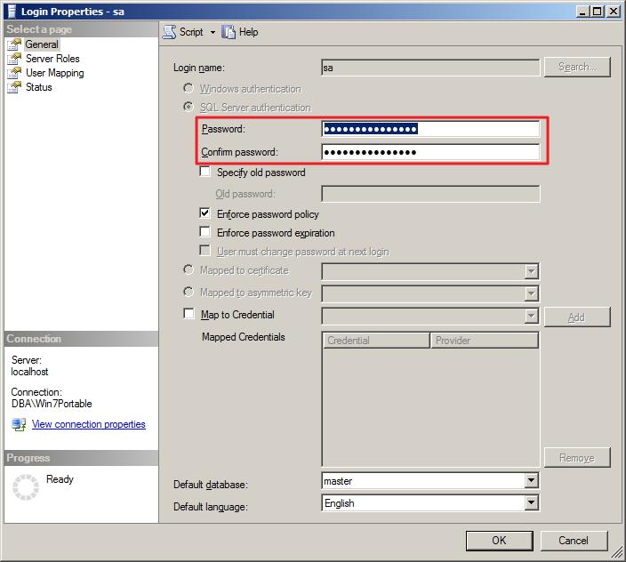 SQL Server - Alter SA Passoword 2
