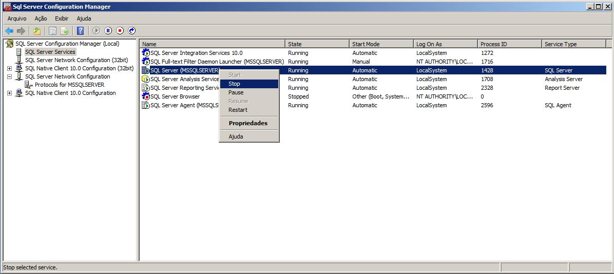 SQL Server - Configuration Manager - Stop Instance