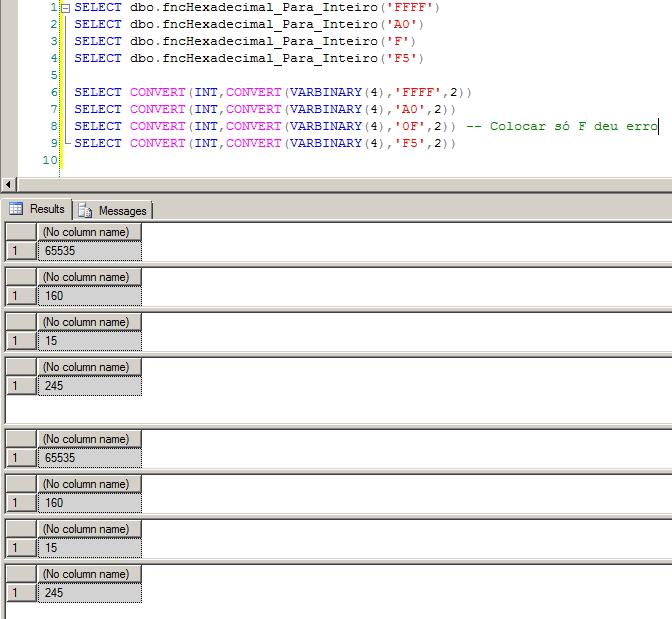 SQL Server - Hexadecimal para Inteiro 2