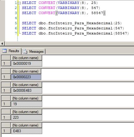 SQL Server - Inteiro para Hexadecimal