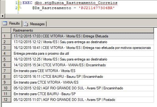 SQL Server - Rastreamento de Objetos Encomendas dos Correios