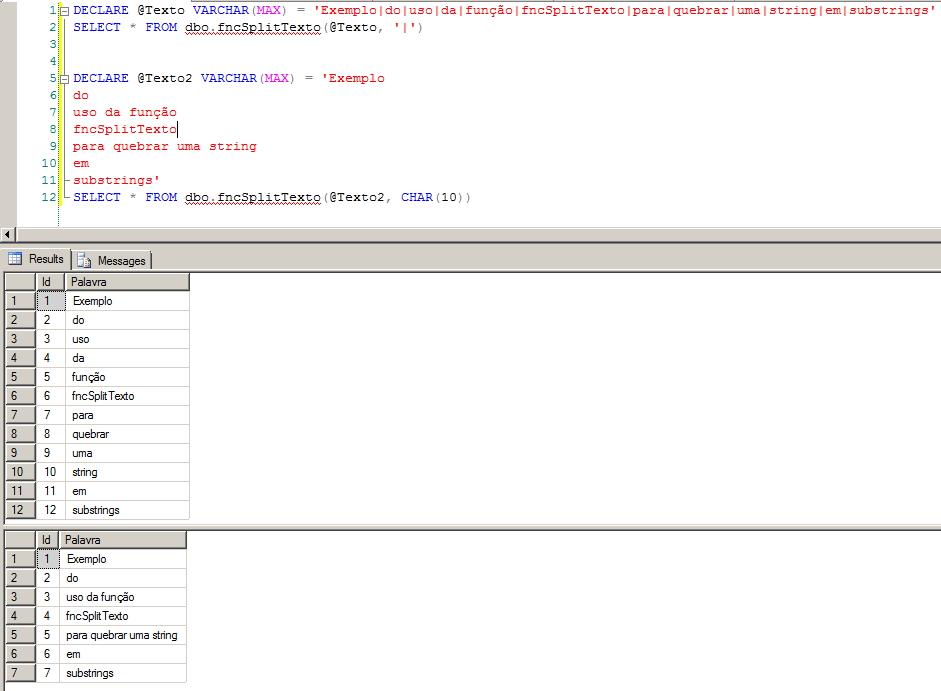 SQL Server - fncSplitTexto Como quebrar um string em uma tabela de substrings utilizando um delimitador