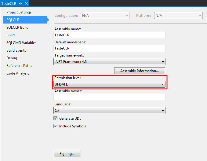 CLR Assembly Properties - Permission Set Visual Studio