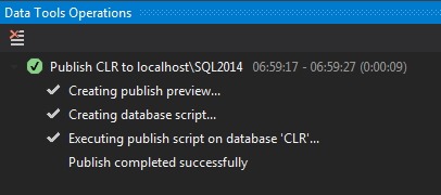 CLR Publish completed successfully