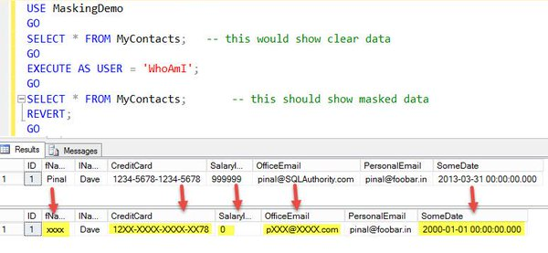 SQL Server 2016 - Dynamic Data Masking 2