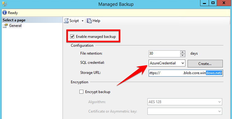 SQL Server 2016 - Managed Backup to Azure
