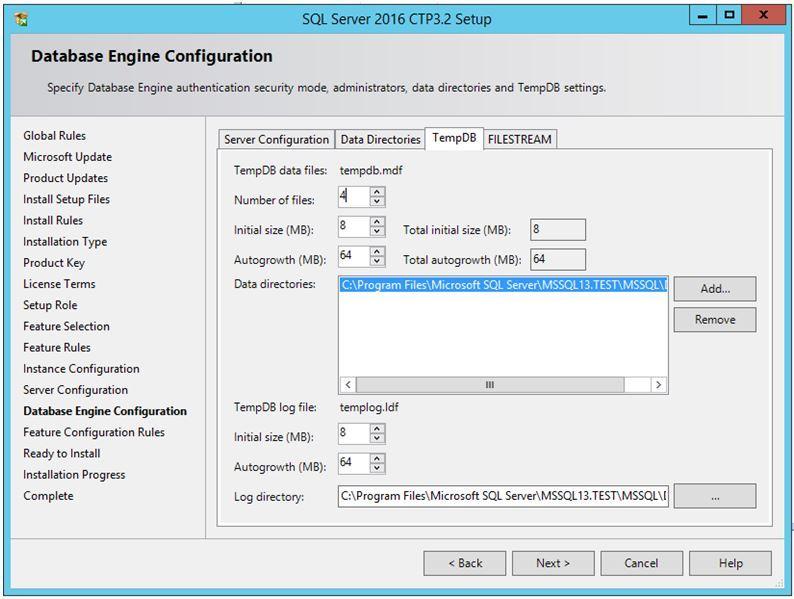 SQL Server 2016 - Multiple TempDB