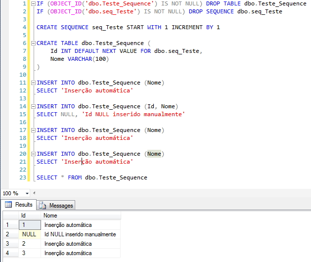 SQL Server - Sequence NEXT VALUE FOR Automatic