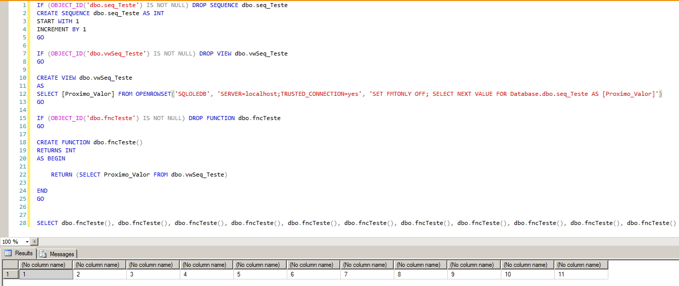 SQL Server - Sequence in Function