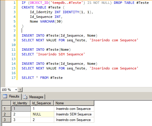 SQL Server - Sequence x Identity
