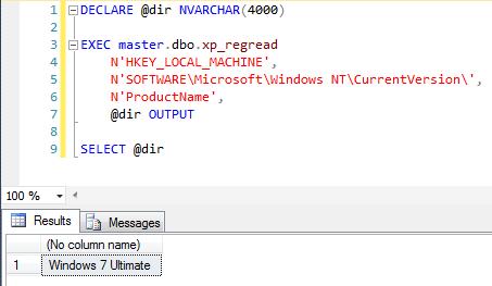 SQL Server - Windows Registry xp_regread