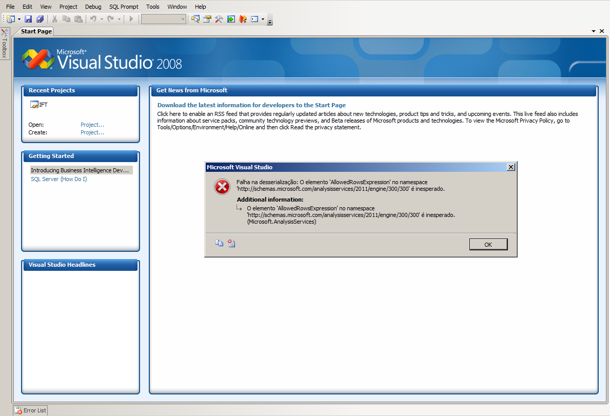 Microsoft Analysis Services - Error AllowedRowsExpression no namespace