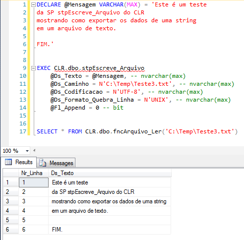 SQL Server - How to export string variable to text csv file with CLR