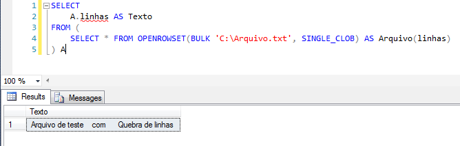 SQL Server - Import text txt file openrowset bulk