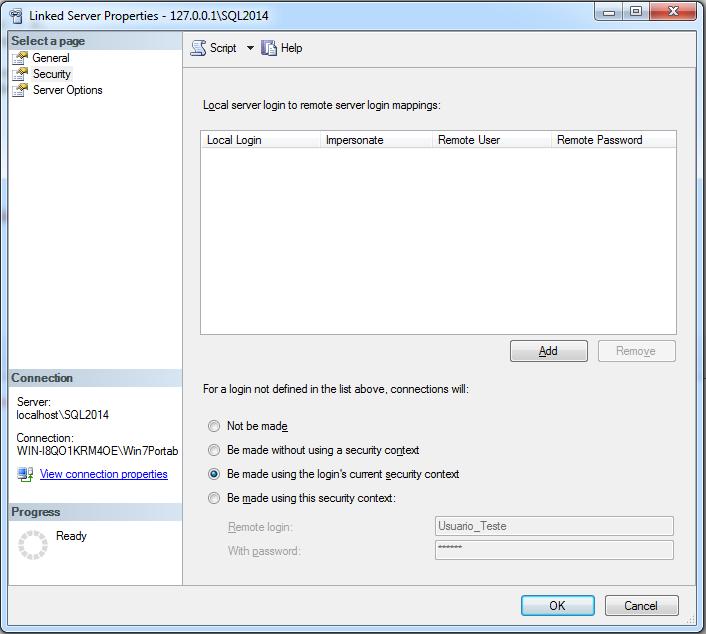 SQL Server - Linked Server Properties Security