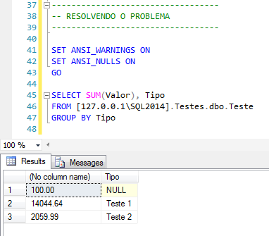 SQL Server - Resolvendo Solving Heterogeneous queries require the ANSI_NULLS and ANSI_WARNINGS options to be set for the connection 2