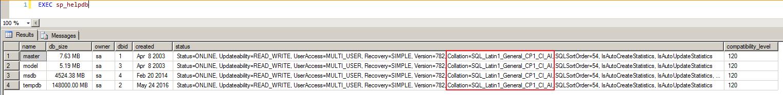 SQL Server - sp_helpdb