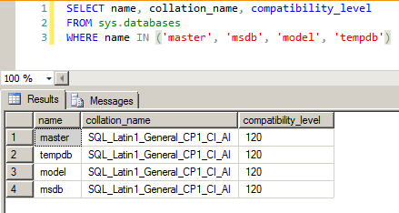SQL Server - sys.databases collation compatibility level