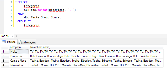SQL Server - Grouped Concatenation convert rows into string - Performance - CLR4