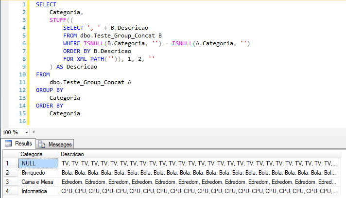 SQL Server - Grouped Concatenation convert rows into string - Performance - STUFF FOR XML PATH4