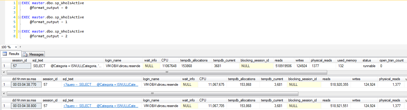 SQL Server - sp_WhoIsActive format_output